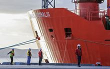 The Aurora Australia docked in Hobart following the rescue of 52 passengers from the Akademik Schokalskiy.