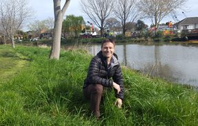Christchurch City Council Waterways Ecologist Greg Burrell checks out the banks of the Heathcote River.
