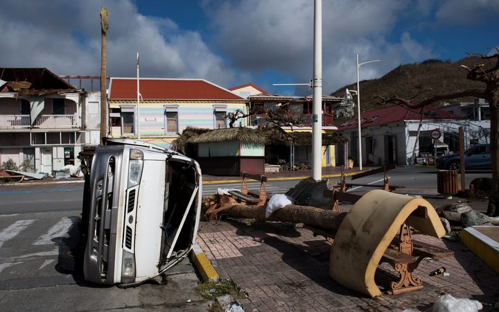 The Fort Louis Marina in Marigot is seen on September 8, 2017 in Saint-Martin island, devastated by Hurricane Irma.