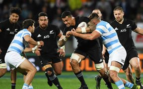 Vaea Fifita on the charge against Argentina.