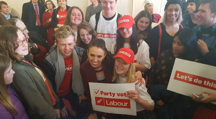 Jacinda Ardern surrounded by supporters. Photo / Craig McCulloch