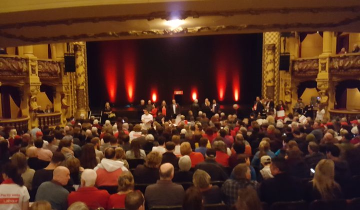 A crowd of around 1500 Labour supporters attended the rally at the St James theatre in Wellington. Photo / Craig McCulloch