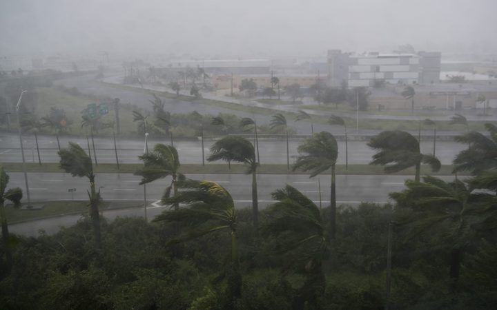 Heavy winds and rain from Hurricane Irma are seen in Miami, Florida, on September 10, 2017.
