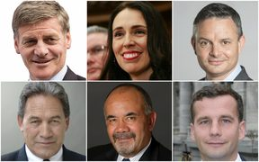 Bill English, Jacinda Ardern, James Shaw, Winston Peters, Te Ururoa Flavell and David Seymour
