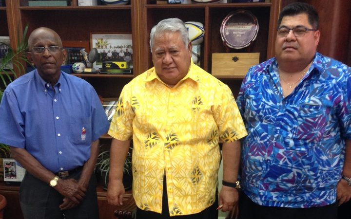 From left to right, President of the Pacific Games Council Vidhya Lakhan, Samoa's prime minister, Tuilaepa Sailele Malielegaoi, and SASNOC President Patrick Fepuleai.