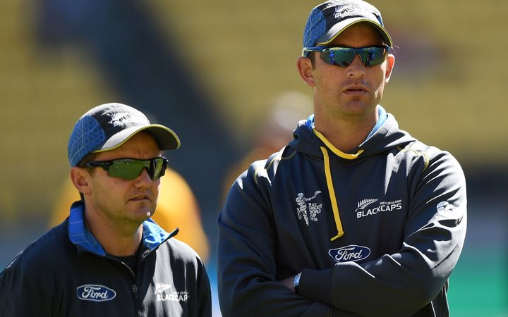 Shane Bond (right) during his time at Black Caps bowling coach alongside Mike Hesson.