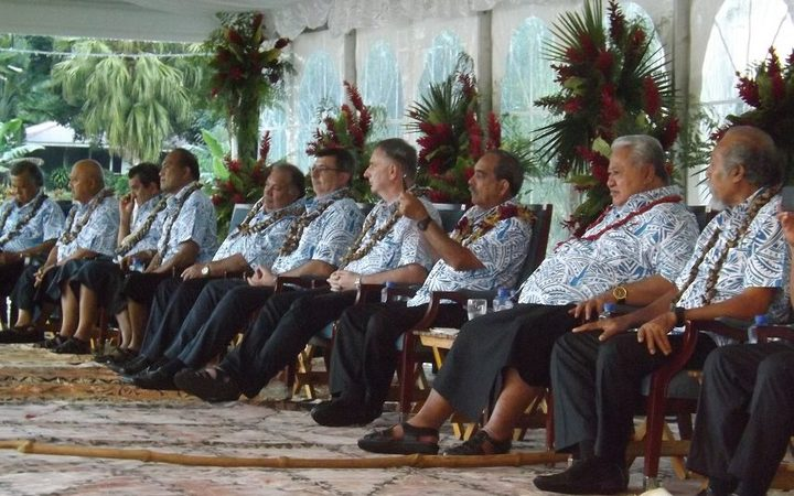 Leaders at the opening of the Pacific Islands Forum in Samoa.