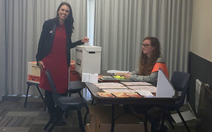 Labour leader Jacinda Ardern makes an advance vote in her electorate.