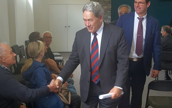 Mr Peters at his Whangamata campaign meeting.Photo/ Benedict Collins.