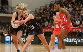 New Zealand's Gina Crampton in the second test against England's Roses.