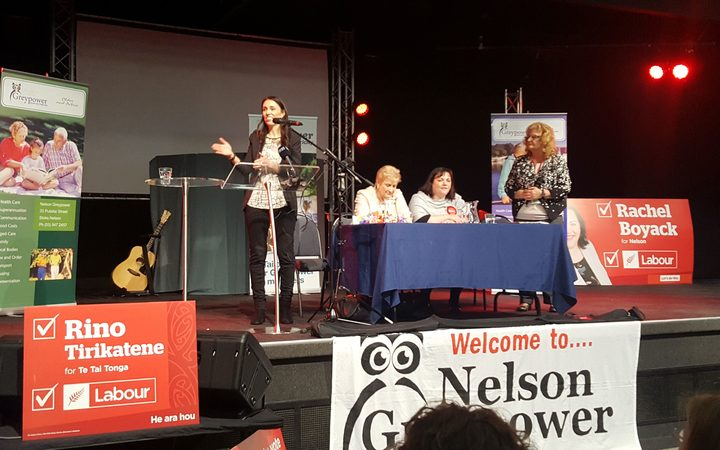 Labour leader Jacinda Ardern talks to Grey Power in Nelson.