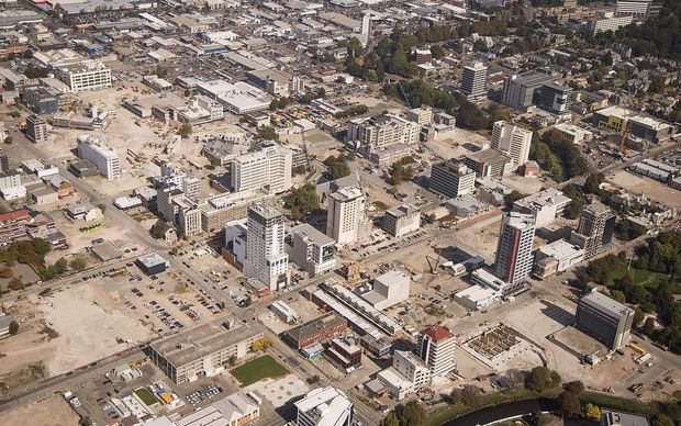 An aerial view of the Christchurch central business district showing demolished sites. Taken March 2013.