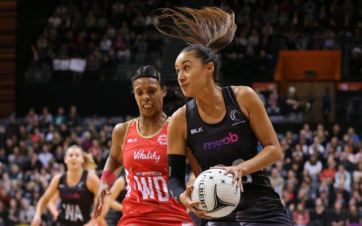 New Zealand shooter Maria Tutaia in action during the Taini Jamison Trophy international netball match - Silver Ferns v England played at Claudelands Arena, Hamilton, New Zealand on Wednesday 13 September 2017.