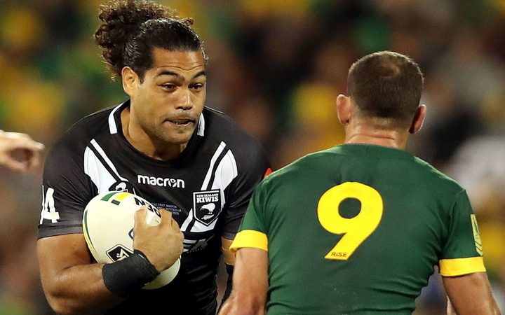 Adam Blair on the charge for the Kiwis against Australia.