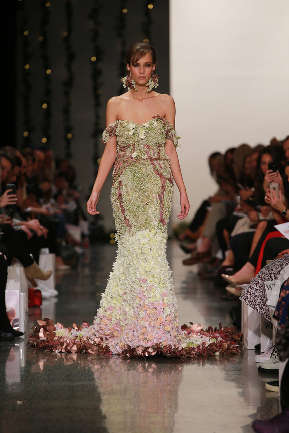 Trish Peng's fresh floral gown had to be kept in the chiller, NZFW 2017