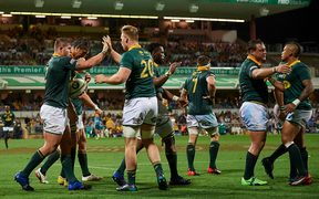 Springboks celebrate a try against Australia