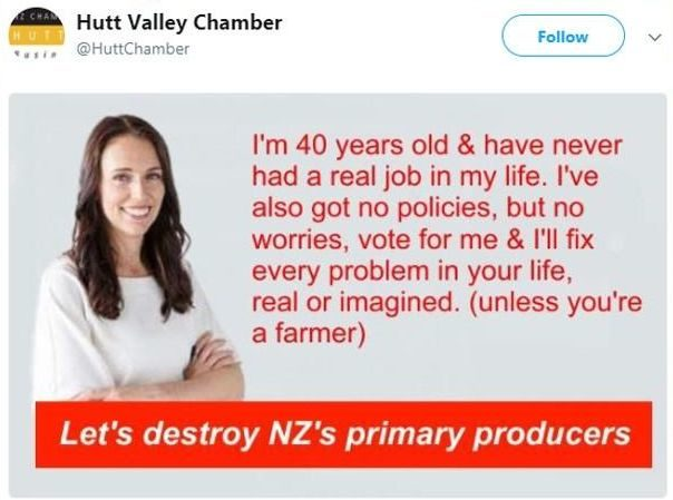 The Jacinda Ardern tweet sent out from an account linked to the Hutt Valley Chamber of Commerce.