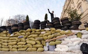 Protesters erected barricades in Lviv, western Ukraine.