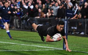 Rieko Ioane scores a try during the Rugby Championship test match rugby union.