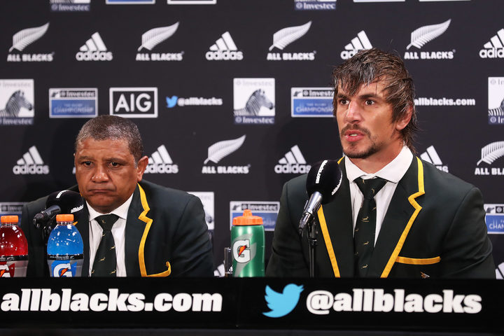 South African head coach Allister Coetzee and player Eben Etzebeth talk to media after the Rugby Championship test match rugby union.