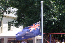 A flag flies at half-mast at St Leonard's School.