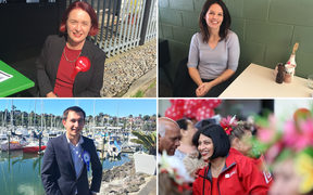Rotating from top left: Labour's New Lynn candidate Deborah Russell, National's East Coast Bays candidate Erica Stanford, Labour's Maungakiekie candidate Priyanca Radhakrishnan and National's Pakuranga Simeon Brown.