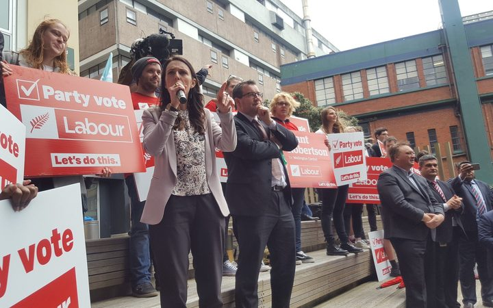 Jacinda Ardern talks to students at Victoria University.