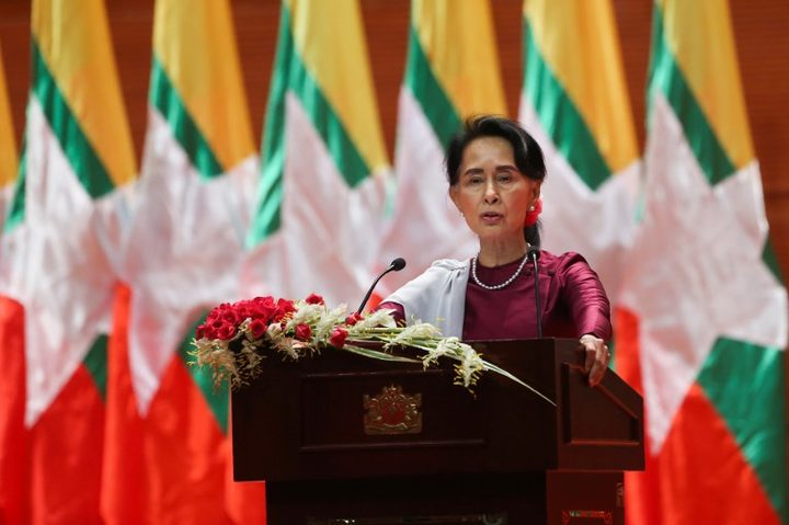 "Aung San Suu Kyi delivers a national address in Naypyidaw. She said she ""feels deeply"" for the suffering of ""all people"" caught up in conflict."