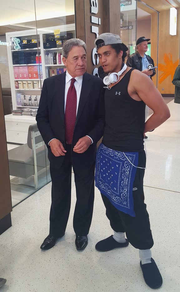 Winston Peters meets potential voter in LynnMall, New Lynn.