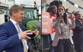 Bill English and Jacinda Ardern on the campaign trail. 19/09/17