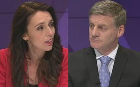 Jacinda Ardern and Bill English in the last leaders debate.