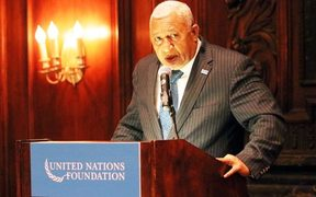 Frank Bainimarama speaks at the UN Foundations Dinner in New York.