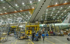 A Boeing 777 airliner sits on the production line on June 12, 2017 in Everett, Washington