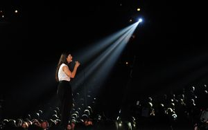 Lorde performing at the 56th Grammy Awards.