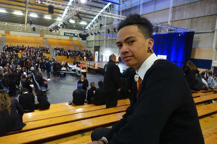Hamiora Renata, 16, used his speech to encourage people to vote in the general election.