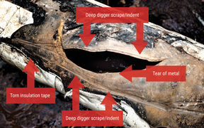 Refining New Zealand said these images show the damage to its pipeline was caused by a digger.