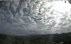 A web camera picture of the Ambae Volcano in Vanuatu on Saturday morning.