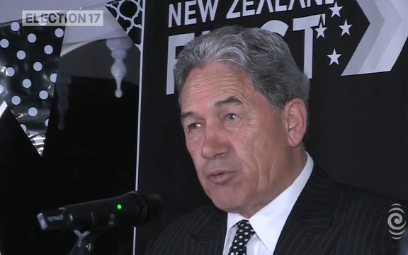 New Zealand First leader Winston Peters speaks to supporters