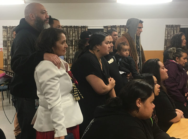 Marama Fox and whānau watching Te Ururoa Flavell accepting the Māori