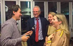 Greg O'Connor (centre) talks to RNZ after winning the Ohariu seat.