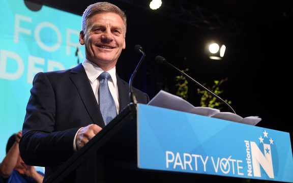 National Party leader Bill English speaking to suporters on election night, 23 September.