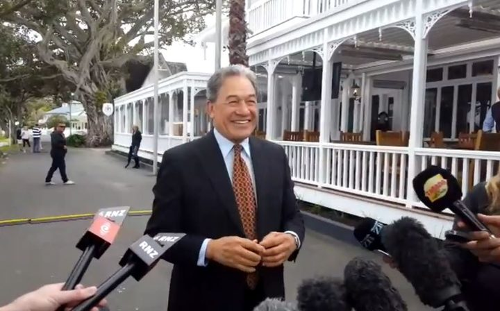 Winston Peters speaks to reporters on Russell's waterfront