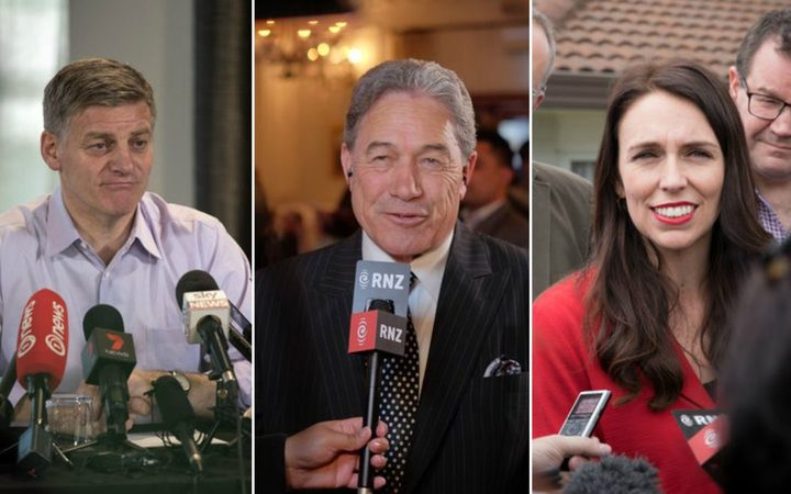 Bill English, Winston Peters, Jacinda Ardern