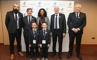 Dhyreille and Brayley Lomu at France's 2023 Rugby world cup presentation
