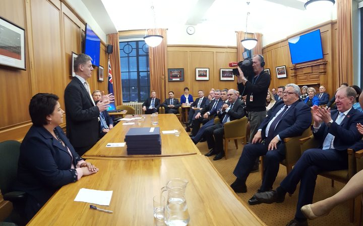 National Party MPs in their first caucus meeting since the 2017 general election.