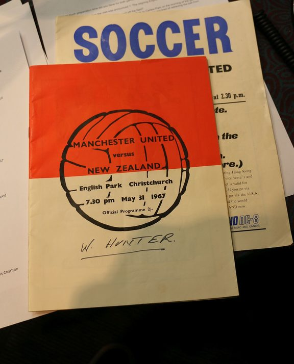 A close-up of Billy Hunter's programme from the Manchester United vs New Zealand game