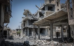 Ruins in the Syrian city of Raqqa (file photo)