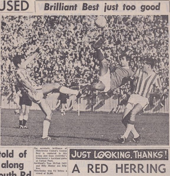 "A photo from the Auckland Star newspaper showing Manchester United star George Best contesting the ball with two Auckland players. The headline reads ""Brilliant Best just too good."""