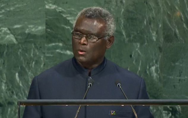 Solomon Islands Manasseh Sogavare at the UN General Assembly, 2017.