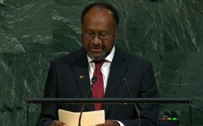 Vanuatu prime minister Charlot Salwai speaks at the UN General Assembly.